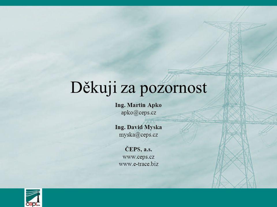 Děkuji za pozornost Ing. Martin Apko apko@ceps.cz Ing. David Myska myska@ceps.cz ČEPS, a.s. www.ceps.cz www.e-trace.biz