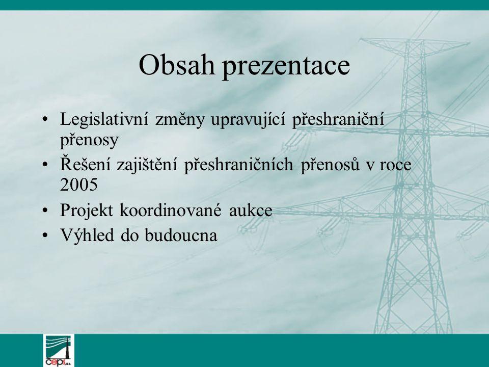 Obsah prezentace Legislativní změny upravující přeshraniční přenosy Řešení zajištění přeshraničních přenosů v roce 2005 Projekt koordinované aukce Výh