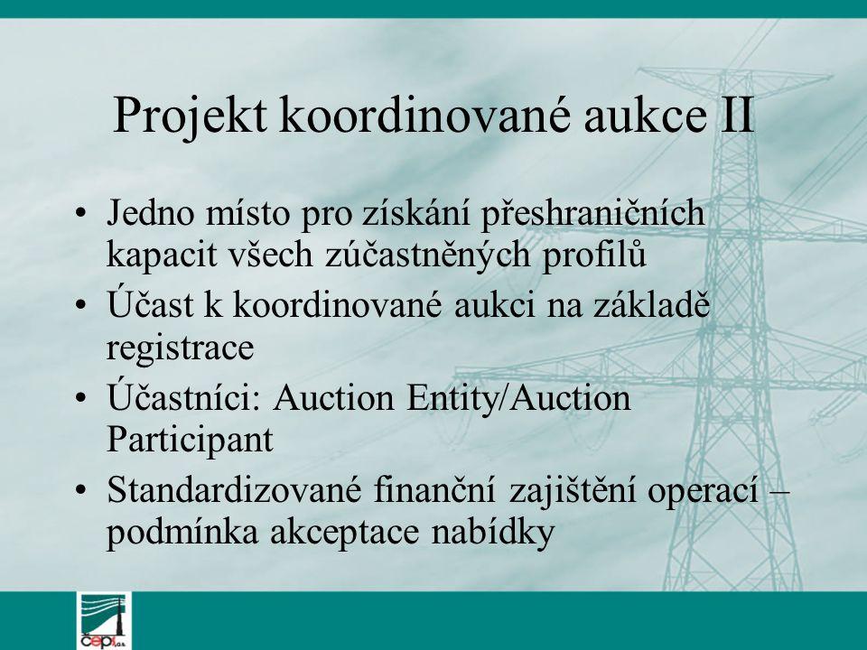Projekt koordinované aukce II Jedno místo pro získání přeshraničních kapacit všech zúčastněných profilů Účast k koordinované aukci na základě registrace Účastníci: Auction Entity/Auction Participant Standardizované finanční zajištění operací – podmínka akceptace nabídky