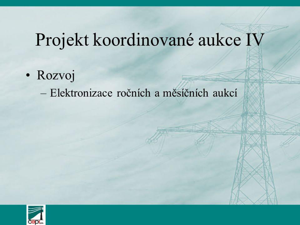 Projekt koordinované aukce IV Rozvoj –Elektronizace ročních a měsíčních aukcí