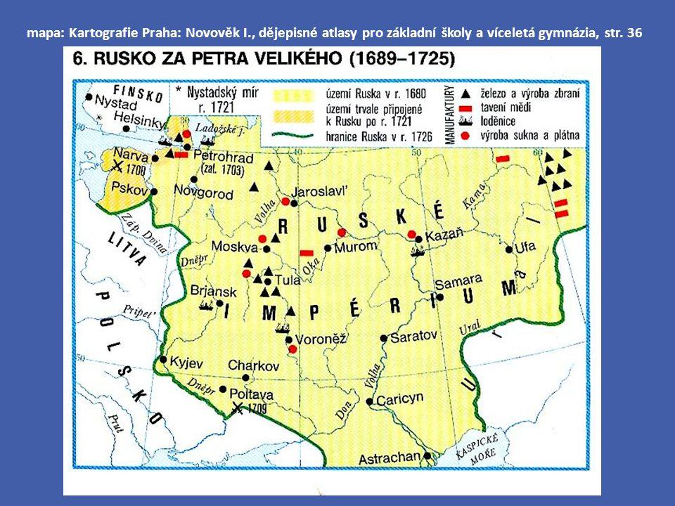 mapa: Kartografie Praha: Novověk I., dějepisné atlasy pro základní školy a víceletá gymnázia, str. 36