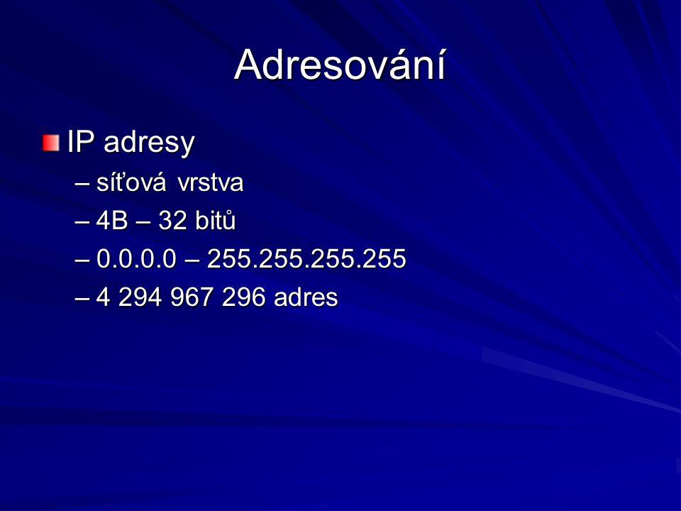 Adresování IP adresy –síťová vrstva –4B – 32 bitů –0.0.0.0 – 255.255.255.255 –4 294 967 296 adres