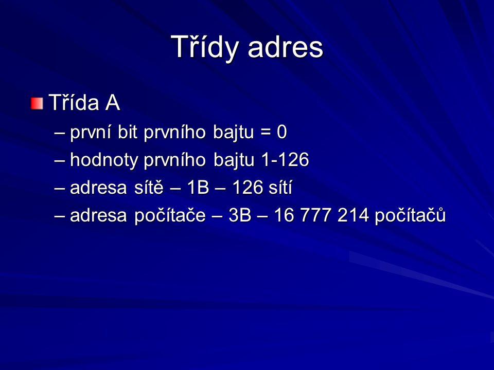 Třídy adres Třída A –první bit prvního bajtu = 0 –hodnoty prvního bajtu 1-126 –adresa sítě – 1B – 126 sítí –adresa počítače – 3B – 16 777 214 počítačů