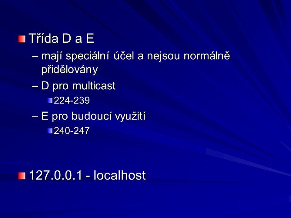 Třída D a E –mají speciální účel a nejsou normálně přidělovány –D pro multicast 224-239 –E pro budoucí využití 240-247 127.0.0.1 - localhost