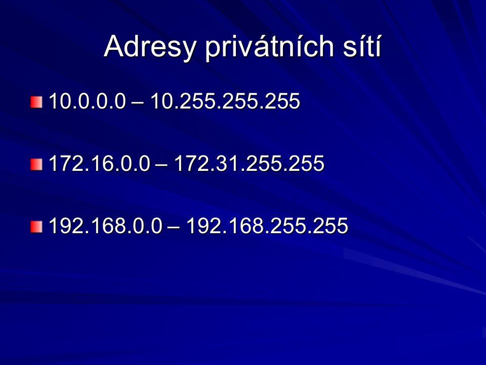Adresy privátních sítí 10.0.0.0 – 10.255.255.255 172.16.0.0 – 172.31.255.255 192.168.0.0 – 192.168.255.255