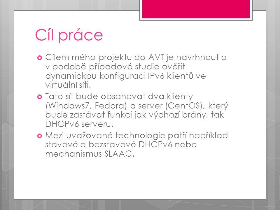 Cíl práce  Cílem mého projektu do AVT je navrhnout a v podobě případové studie ověřit dynamickou konfiguraci IPv6 klientů ve virtuální síti.