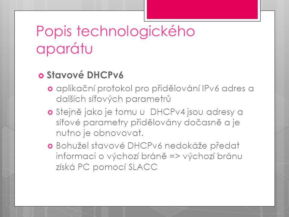 Popis technologického aparátu  Bezstavové DHCPv6  Velmi zjednodušená verze DHCPv6  Zaměřeno na snadnou implementovatelnost a jednoduchost  Slouží zpravidla k poskytnutí informací o DNS serverech, které klient nemohl získat pomocí SLAAC