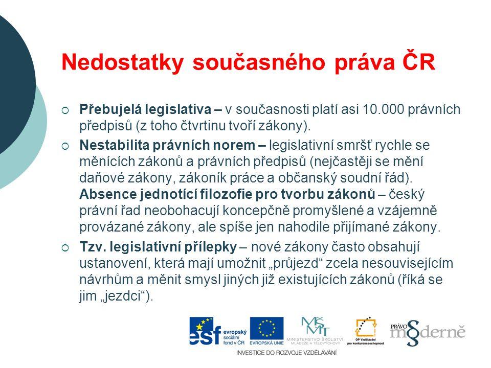 Nedostatky současného práva ČR  Přebujelá legislativa – v současnosti platí asi 10.000 právních předpisů (z toho čtvrtinu tvoří zákony).