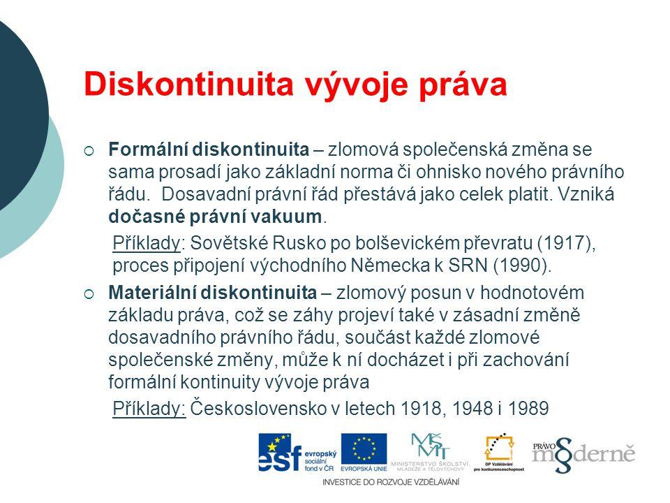 Diskontinuita vývoje práva  Formální diskontinuita – zlomová společenská změna se sama prosadí jako základní norma či ohnisko nového právního řádu.