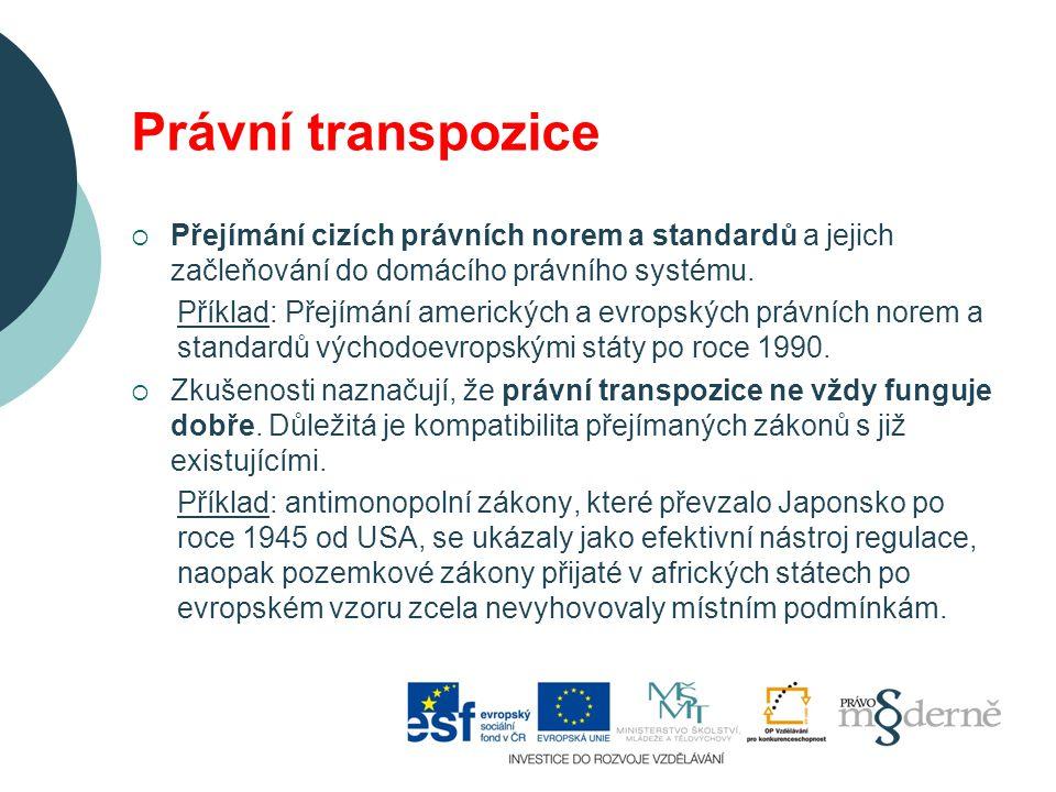 Právní transpozice  Přejímání cizích právních norem a standardů a jejich začleňování do domácího právního systému.