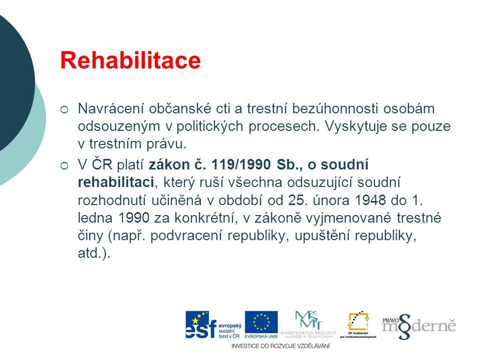 Rehabilitace  Navrácení občanské cti a trestní bezúhonnosti osobám odsouzeným v politických procesech.