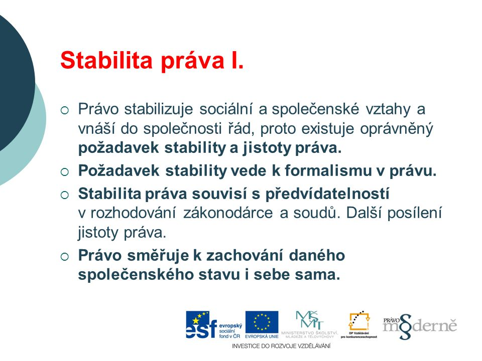 Stabilita práva II.