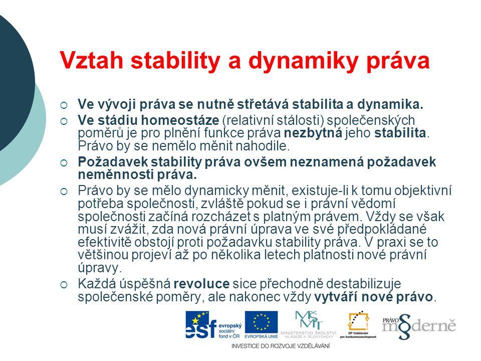 Vztah stability a dynamiky práva  Ve vývoji práva se nutně střetává stabilita a dynamika.