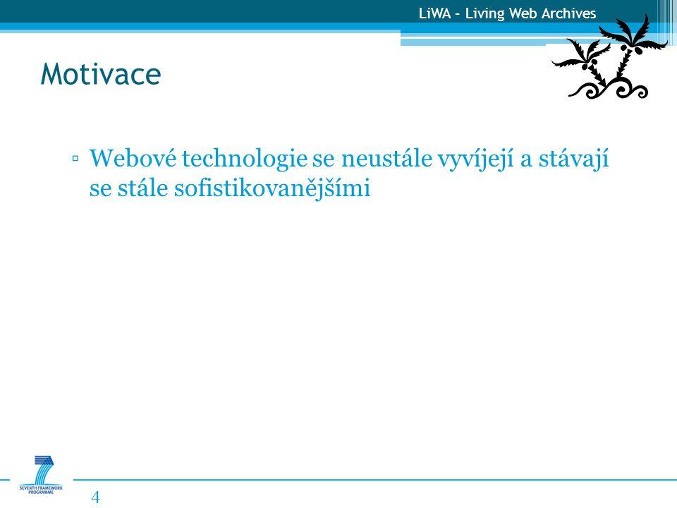 LiWA – Living Web Archives Motivace 4 ▫Webové technologie se neustále vyvíjejí a stávají se stále sofistikovanějšími