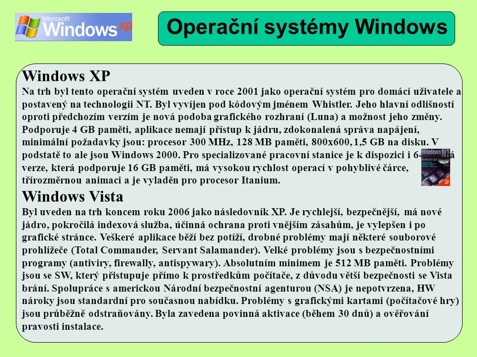 Windows XP Na trh byl tento operační systém uveden v roce 2001 jako operační systém pro domácí uživatele a postavený na technologii NT.