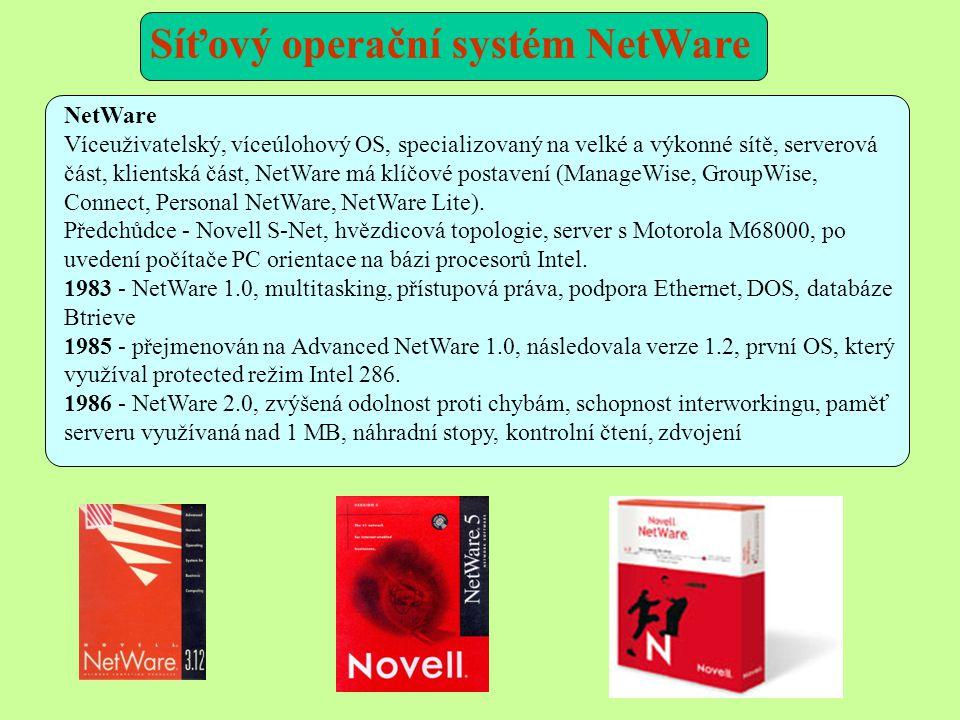 NetWare Víceuživatelský, víceúlohový OS, specializovaný na velké a výkonné sítě, serverová část, klientská část, NetWare má klíčové postavení (ManageWise, GroupWise, Connect, Personal NetWare, NetWare Lite).