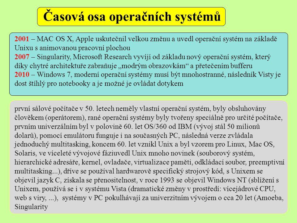 """Časová osa operačních systémů 2001 – MAC OS X, Apple uskutečnil velkou změnu a uvedl operační systém na základě Unixu s animovanou pracovní plochou 2007 – Singularity, Microsoft Research vyvíjí od základu nový operační systém, který díky chytré architektuře zabraňuje """"modrým obrazovkám a přetečením bufferu 2010 – Windows 7, moderní operační systémy musí být mnohostranné, následník Visty je dost štíhlý pro notebooky a je možné je ovládat dotykem první sálové počítače v 50."""