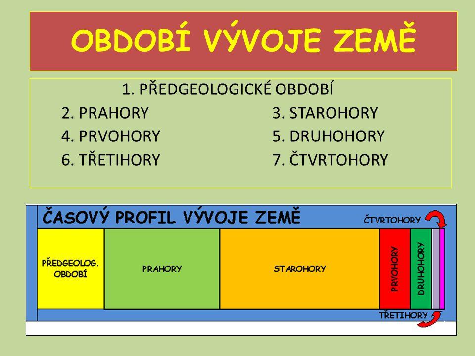 OBDOBÍ VÝVOJE ZEMĚ 1.PŘEDGEOLOGICKÉ OBDOBÍ 2. PRAHORY 3.