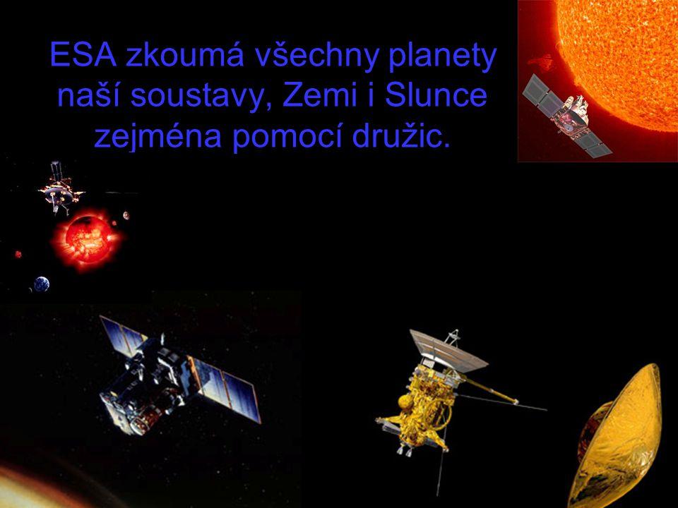 ESA zkoumá všechny planety naší soustavy, Zemi i Slunce zejména pomocí družic.