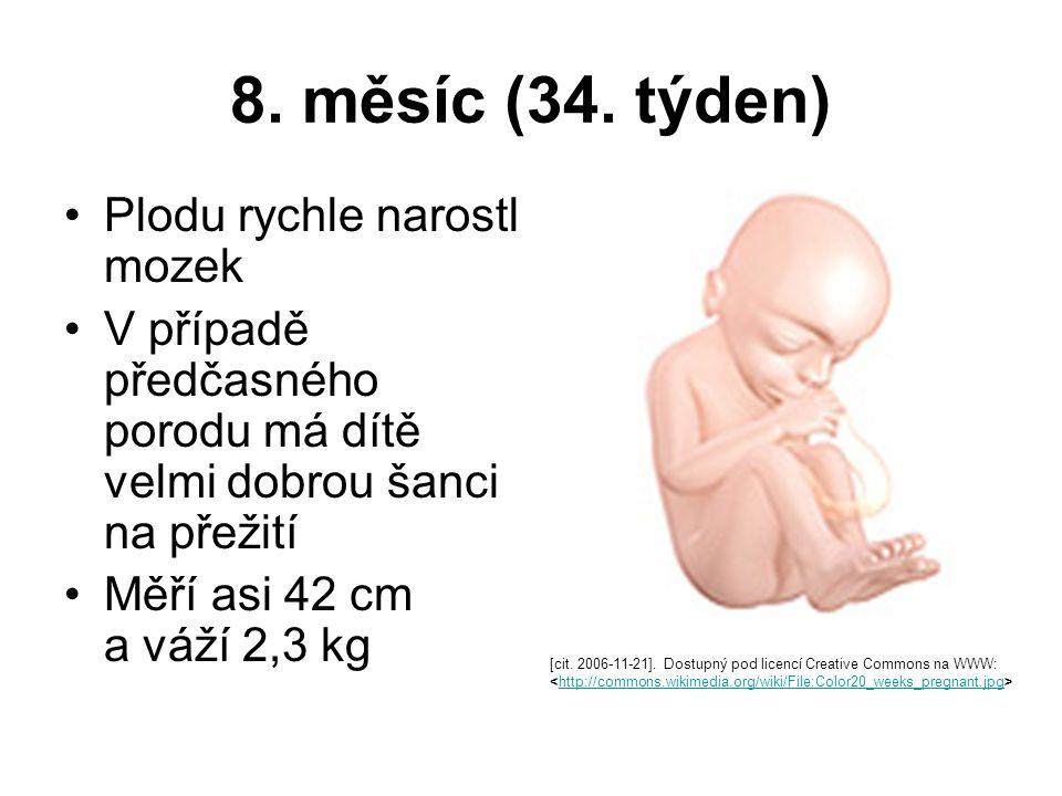8. měsíc (34. týden) Plodu rychle narostl mozek V případě předčasného porodu má dítě velmi dobrou šanci na přežití Měří asi 42 cm a váží 2,3 kg [cit.