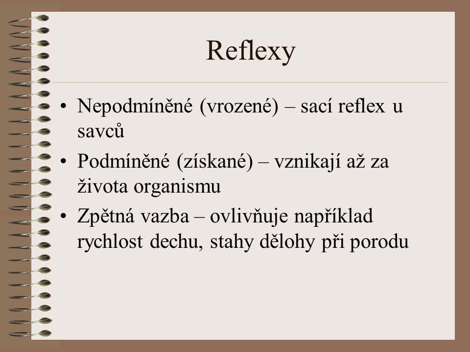 Reflexy Nepodmíněné (vrozené) – sací reflex u savců Podmíněné (získané) – vznikají až za života organismu Zpětná vazba – ovlivňuje například rychlost