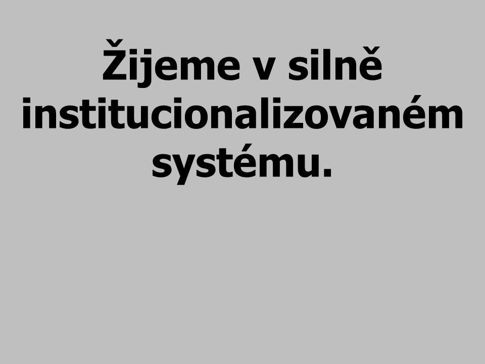 Žijeme v silně institucionalizovaném systému.
