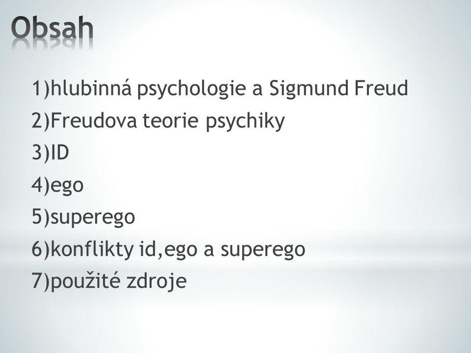 1)hlubinná psychologie a Sigmund Freud 2)Freudova teorie psychiky 3)ID 4)ego 5)superego 6)konflikty id,ego a superego 7)použité zdroje