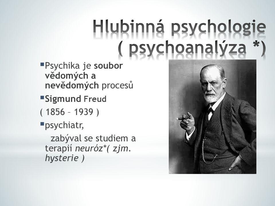  Psychika je soubor vědomých a nevědomých procesů  Sigmund Freud ( 1856 – 1939 )  psychiatr, zabýval se studiem a terapií neuróz*( zjm. hysterie )