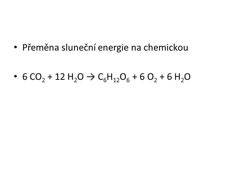 Přeměna sluneční energie na chemickou 6 CO 2 + 12 H 2 O → C 6 H 12 O 6 + 6 O 2 + 6 H 2 O