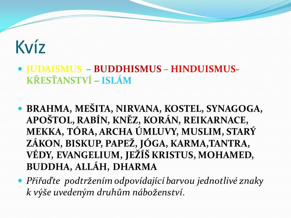 Kvíz JUDAISMUS – BUDDHISMUS – HINDUISMUS- KŘESŤANSTVÍ – ISLÁM BRAHMA, MEŠITA, NIRVANA, KOSTEL, SYNAGOGA, APOŠTOL, RABÍN, KNĚZ, KORÁN, REIKARNACE, MEKK