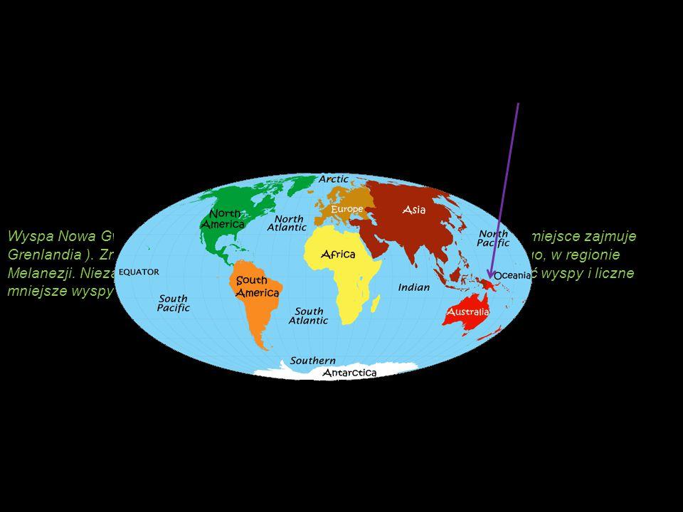 Wyspa Nowa Gwinea jest drugą co do wielkości wyspą na świecie (pierwsze miejsce zajmuje Grenlandia ).