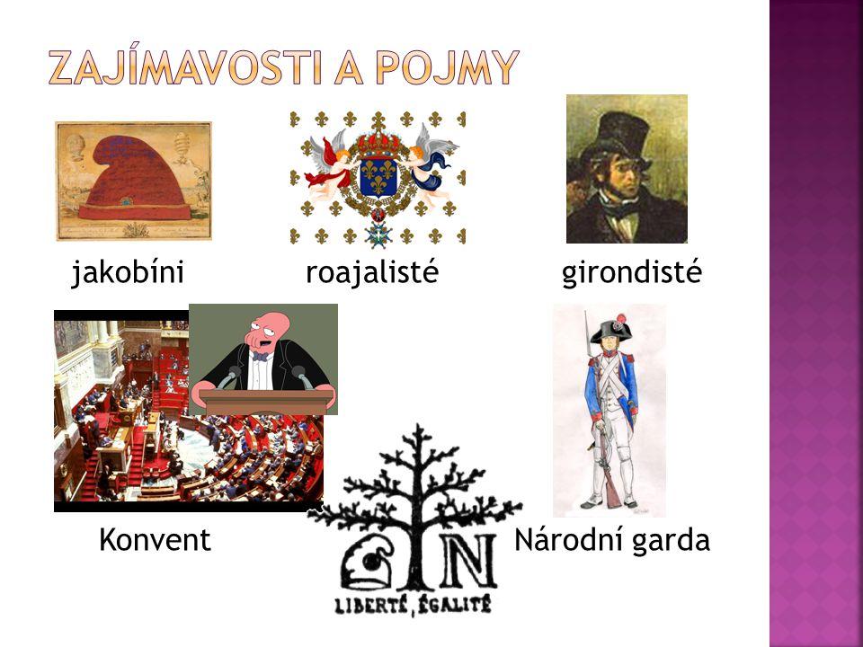 jakobíni roajalisté girondisté Konvent Národní garda
