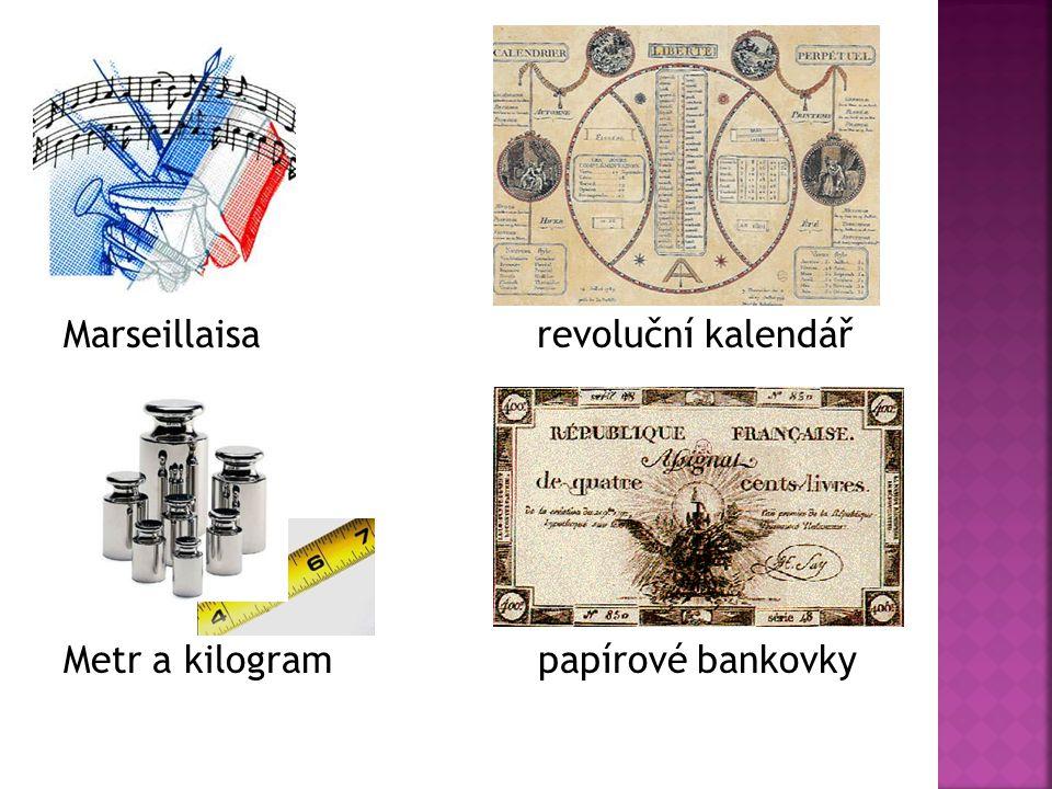Marseillaisa revoluční kalendář Metr a kilogram papírové bankovky