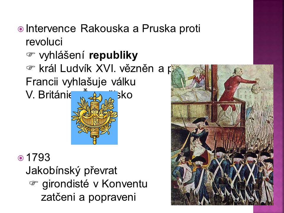  Intervence Rakouska a Pruska proti revoluci  vyhlášení republiky  král Ludvík XVI. vězněn a popraven Francii vyhlašuje válku V. Británie, Španělsk