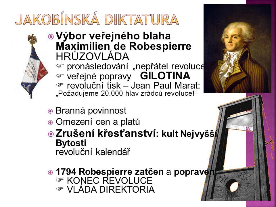 """ Výbor veřejného blaha Maximilien de Robespierre HRŮZOVLÁDA  pronásledování """"nepřátel revoluce""""  veřejné popravy GILOTINA  revoluční tisk – Jean P"""