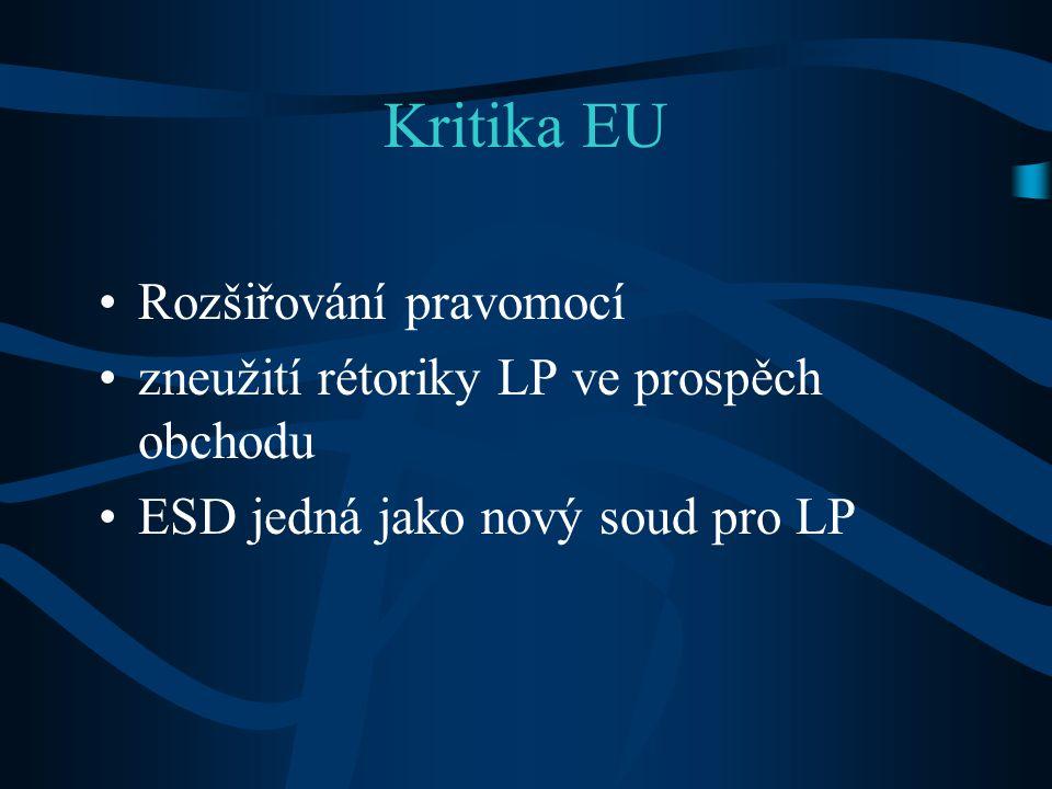 Kritika EU Rozšiřování pravomocí zneužití rétoriky LP ve prospěch obchodu ESD jedná jako nový soud pro LP