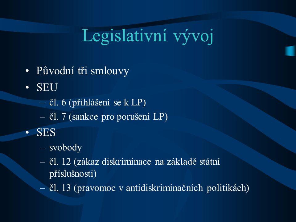 Legislativní vývoj Původní tři smlouvy SEU –čl.6 (přihlášení se k LP) –čl.