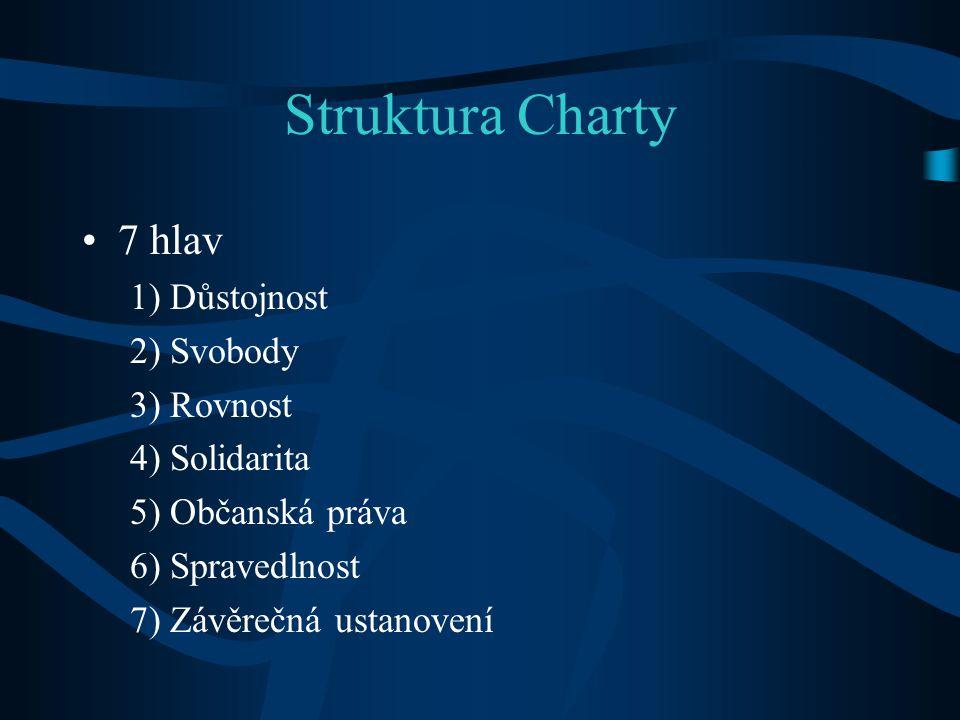 Struktura Charty 7 hlav 1) Důstojnost 2) Svobody 3) Rovnost 4) Solidarita 5) Občanská práva 6) Spravedlnost 7) Závěrečná ustanovení