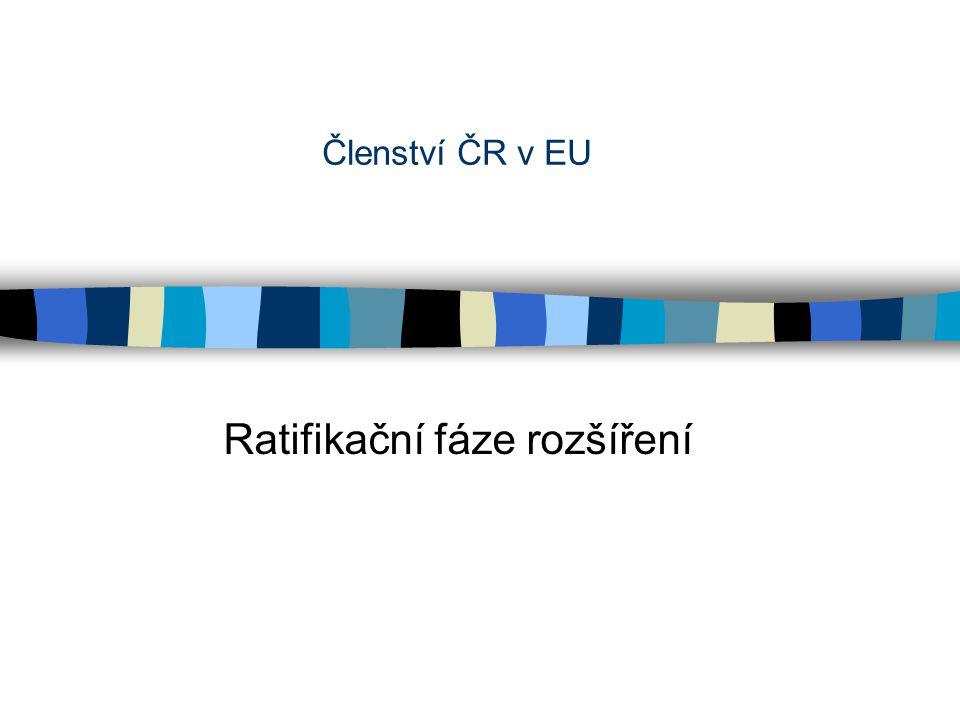 Členství ČR v EU Ratifikační fáze rozšíření