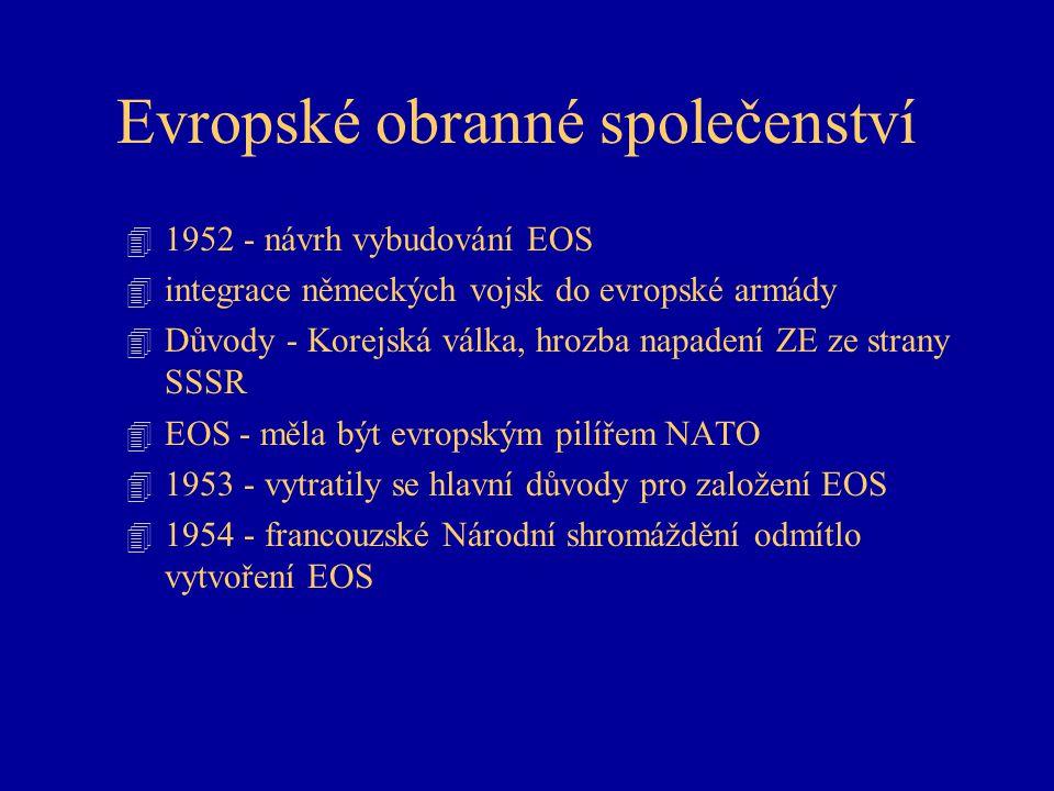Evropské obranné společenství 4 1952 - návrh vybudování EOS 4 integrace německých vojsk do evropské armády 4 Důvody - Korejská válka, hrozba napadení ZE ze strany SSSR 4 EOS - měla být evropským pilířem NATO 4 1953 - vytratily se hlavní důvody pro založení EOS 4 1954 - francouzské Národní shromáždění odmítlo vytvoření EOS
