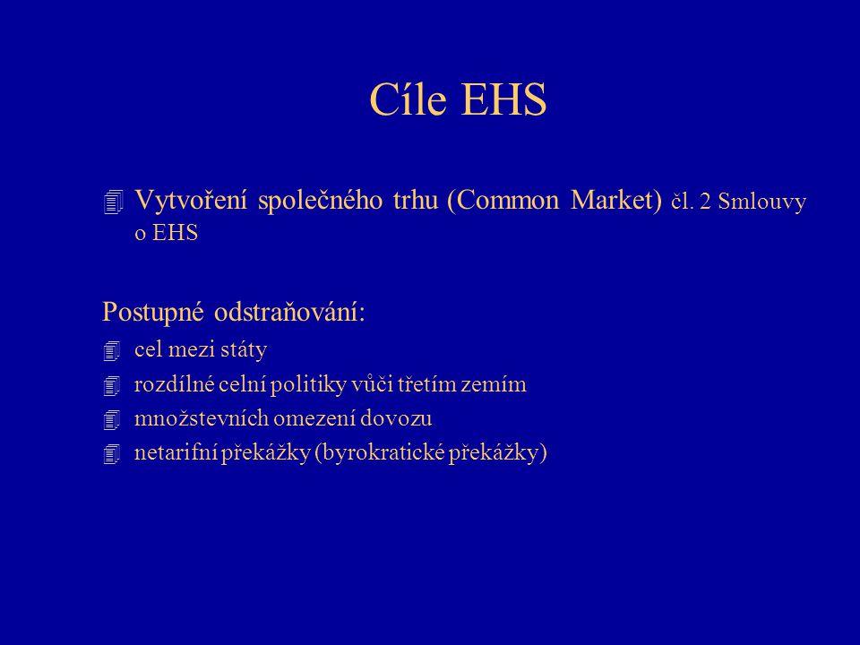 Cíle EHS 4 Vytvoření společného trhu (Common Market) čl. 2 Smlouvy o EHS Postupné odstraňování: 4 cel mezi státy 4 rozdílné celní politiky vůči třetím