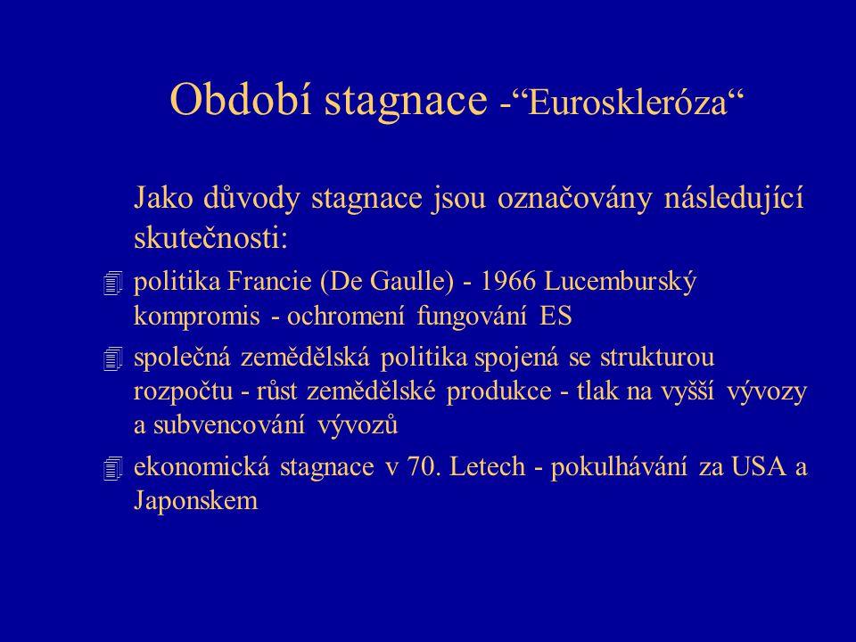 """Období stagnace -""""Euroskleróza"""" Jako důvody stagnace jsou označovány následující skutečnosti: 4 politika Francie (De Gaulle) - 1966 Lucemburský kompro"""