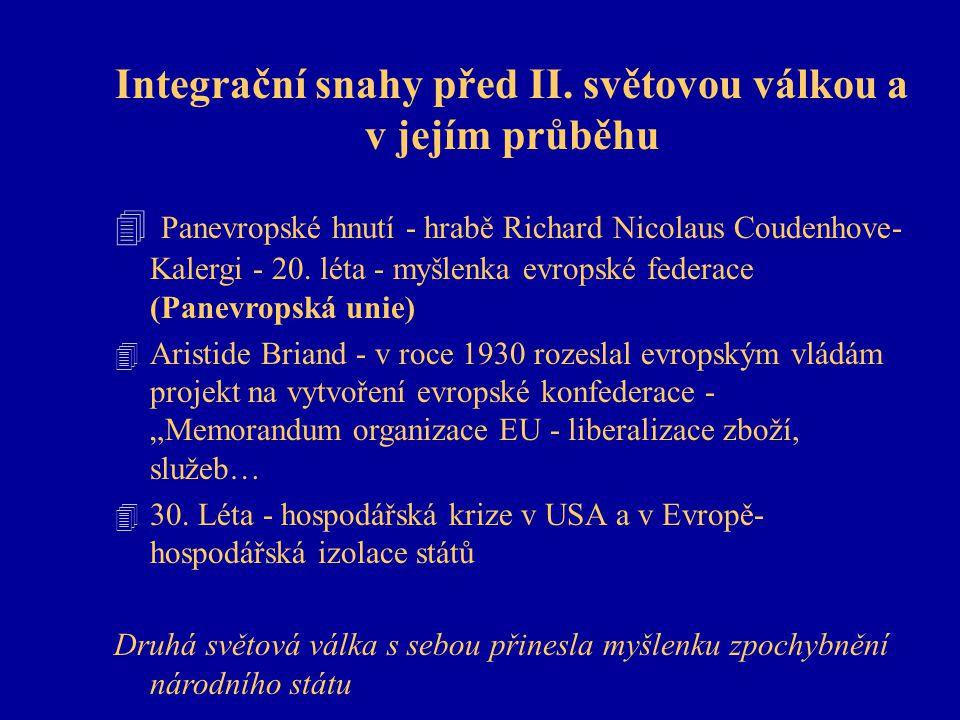 Integrační snahy před II. světovou válkou a v jejím průběhu 4 Panevropské hnutí - hrabě Richard Nicolaus Coudenhove- Kalergi - 20. léta - myšlenka evr