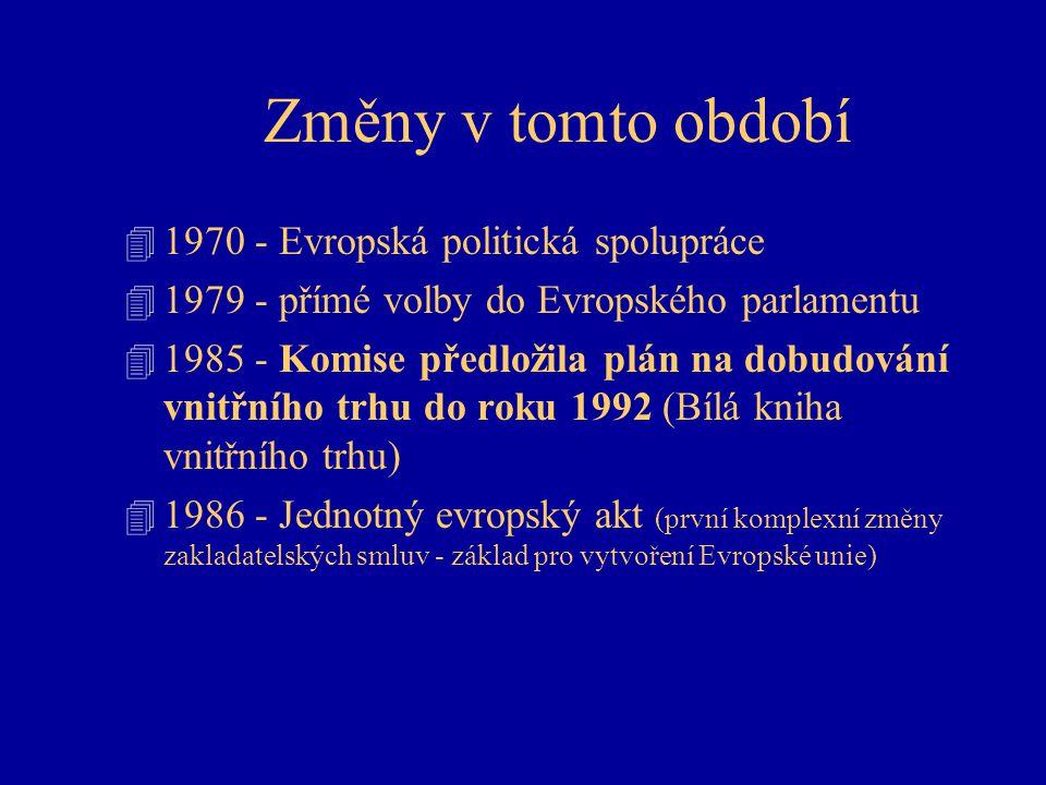 Změny v tomto období 4 1970 - Evropská politická spolupráce 4 1979 - přímé volby do Evropského parlamentu 4 1985 - Komise předložila plán na dobudování vnitřního trhu do roku 1992 (Bílá kniha vnitřního trhu) 4 1986 - Jednotný evropský akt (první komplexní změny zakladatelských smluv - základ pro vytvoření Evropské unie)