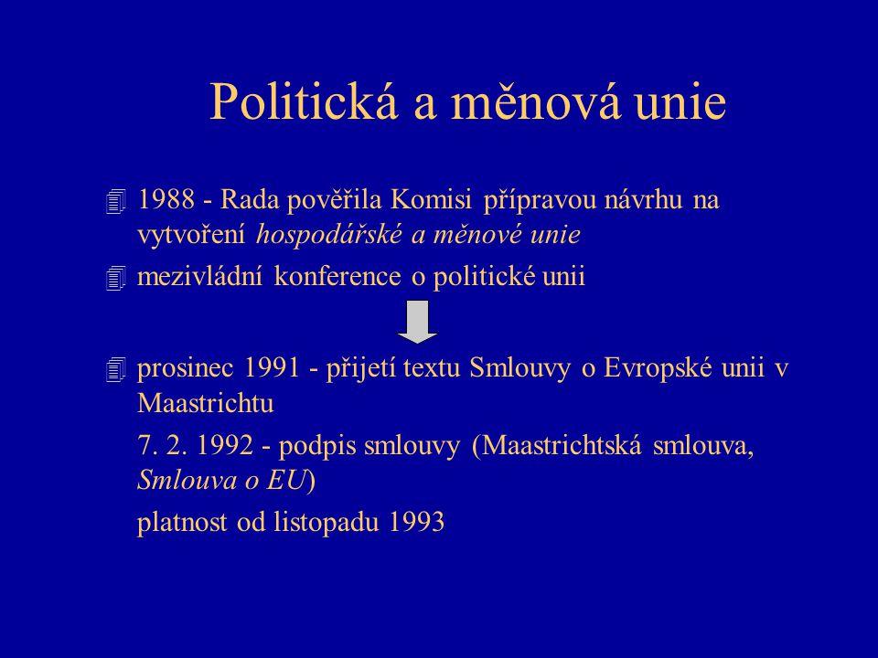 Politická a měnová unie 4 1988 - Rada pověřila Komisi přípravou návrhu na vytvoření hospodářské a měnové unie 4 mezivládní konference o politické unii 4 prosinec 1991 - přijetí textu Smlouvy o Evropské unii v Maastrichtu 7.