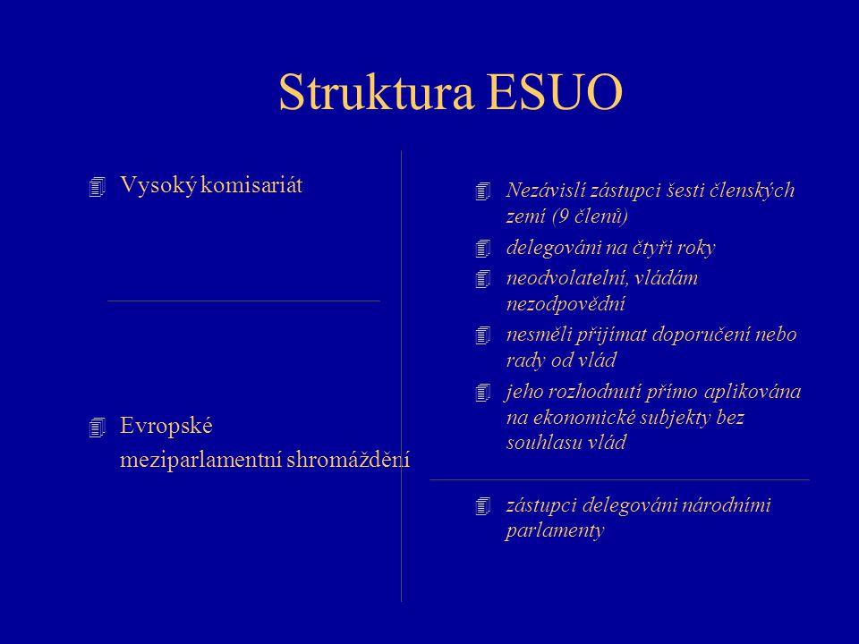 Struktura ESUO 4 Vysoký komisariát 4 Evropské meziparlamentní shromáždění 4 Nezávislí zástupci šesti členských zemí (9 členů) 4 delegováni na čtyři roky 4 neodvolatelní, vládám nezodpovědní 4 nesměli přijímat doporučení nebo rady od vlád 4 jeho rozhodnutí přímo aplikována na ekonomické subjekty bez souhlasu vlád 4 zástupci delegováni národními parlamenty