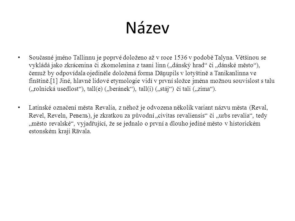 """Název Současné jméno Tallinnu je poprvé doloženo až v roce 1536 v podobě Talyna. Většinou se vykládá jako zkrácenina či zkomolenina z taani linn (""""dán"""