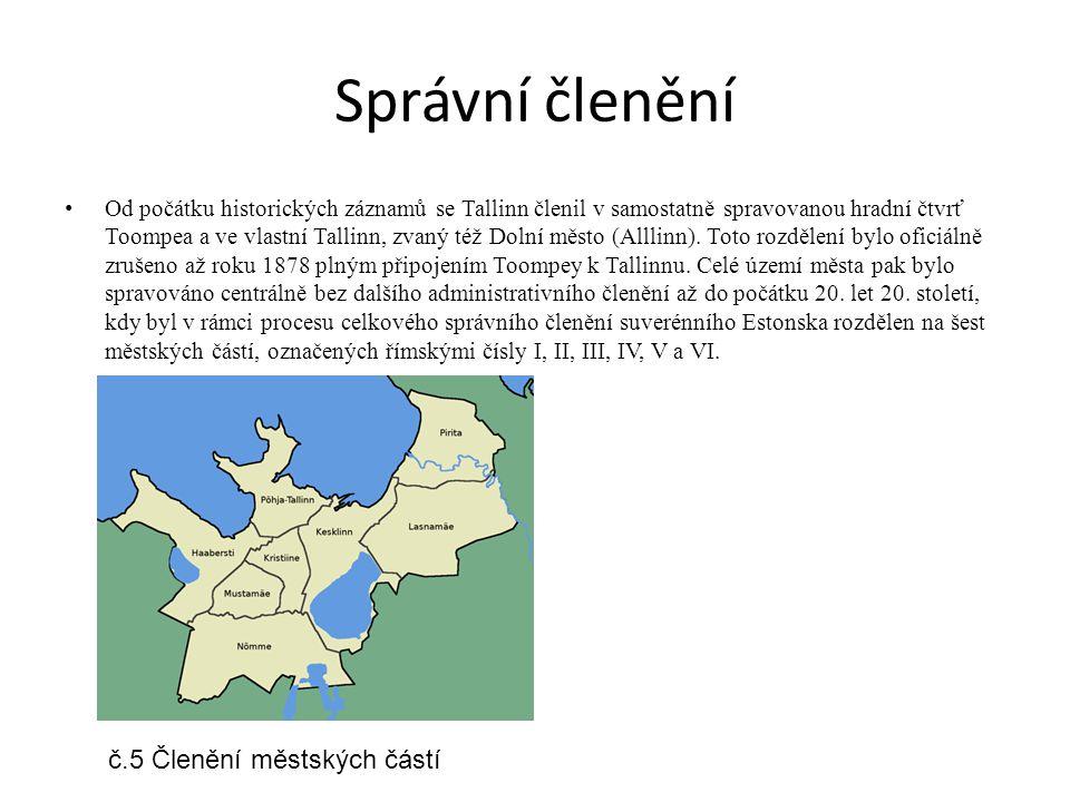 Správní členění Od počátku historických záznamů se Tallinn členil v samostatně spravovanou hradní čtvrť Toompea a ve vlastní Tallinn, zvaný též Dolní