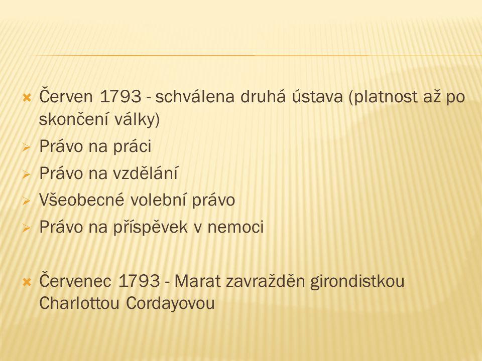  Červen 1793 - schválena druhá ústava (platnost až po skončení války)  Právo na práci  Právo na vzdělání  Všeobecné volební právo  Právo na příspěvek v nemoci  Červenec 1793 - Marat zavražděn girondistkou Charlottou Cordayovou