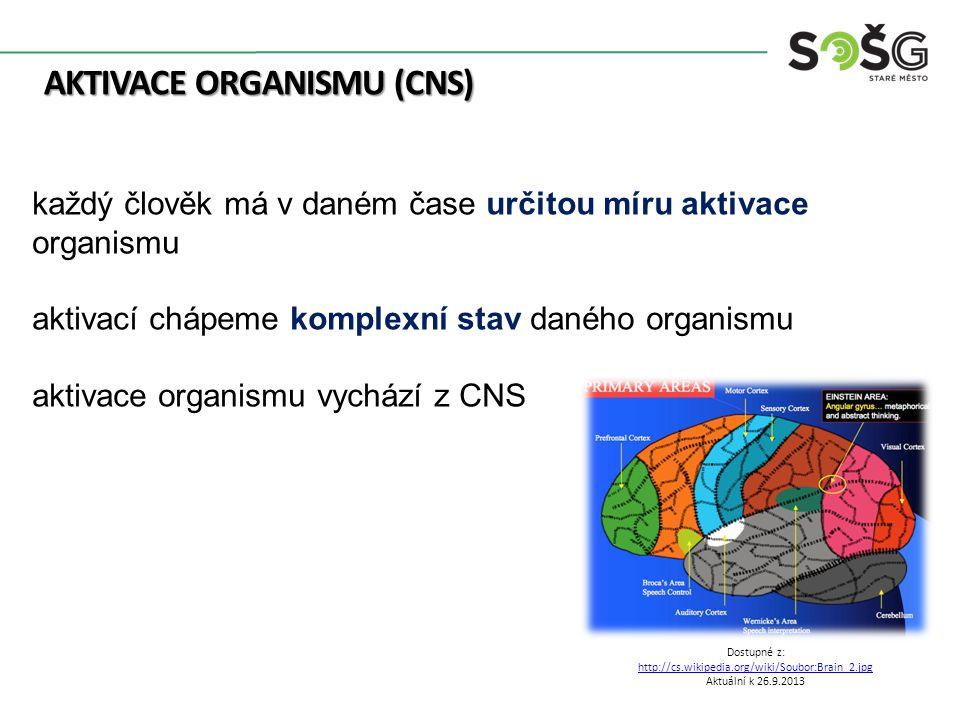 AKTIVACE ORGANISMU (CNS) Dostupné z: http://cs.wikipedia.org/wiki/Soubor:Brain_2.jpg Aktuální k 26.9.2013 každý člověk má v daném čase určitou míru aktivace organismu aktivací chápeme komplexní stav daného organismu aktivace organismu vychází z CNS